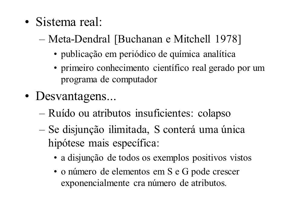 Sistema real: Desvantagens... Meta-Dendral [Buchanan e Mitchell 1978]